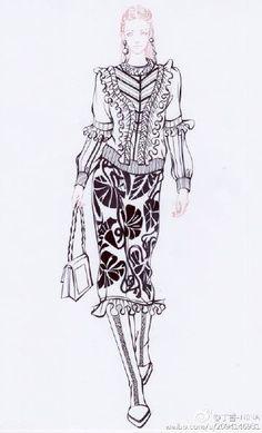 微博 Fashion Illustration Sketches, Fashion Sketches, Illustration Art, Fashion Art, Womens Fashion, Fashion Design, Fashion Portfolio, Woman Drawing, Drawing Clothes