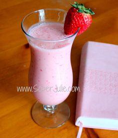 Fruity Smoothie Recipe from SoberJulie: 2 cups fresh, cut strawberries; 1 frozen, cut banana; 1 cup orange juice; 1 cup Greek yogurt (Yoplait Source)