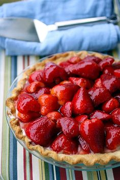 """1960s Strawberry Cream Pie ~ this fabulous pie is from the """"Better Homes & Gardens Dessert Cook Book"""", published 1960."""