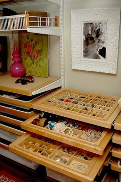 I'd love to have drawers like these in my closet!  Jewelry organizing drawers for Elfa closet