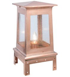 """This outdoor 11""""W Stillwater post mount's simplistic natural beauty features Seedy Glass panels and a frame hand finished in a warm Natural Copper. It is a perfect accent to any landscape, driveway, home or for residential or commercial lighting applications. Handcrafted by Meyda artisans in our factory located at the foothills of New York's Adirondack Mountains. This outdoor post mount comes with energy efficient lamping options and is available in custom colors, sizes and styles."""