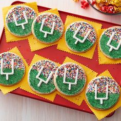 Score big with these Football Field Goal Cookies while you cheer on your…
