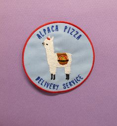 Alpaca Pizza Delivery Service Iron-On Patch  7.5 cm in diameter  Machine embroidered  Limited edition of 100    Thanks for looking! =^-^=