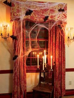 Could do similar for the TV room patio door where the photo booth will be located. Could also use the floor length candelabra to use as | http://halloween.kira.lemoncoin.org