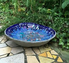 Summertime Blues Wow, what a summer we are having! It is hot, hot, hot! I made more bird baths to take to the Bishops Palace Garden Festival this year and some more Kingfishers and some Swallows and some Goldfinche… Mosaic Birdbath, Mosaic Garden Art, Mosaic Tile Art, Mosaic Flower Pots, Mosaic Pots, Mosaic Birds, Mosaic Artwork, Pebble Mosaic, Mosaic Crafts