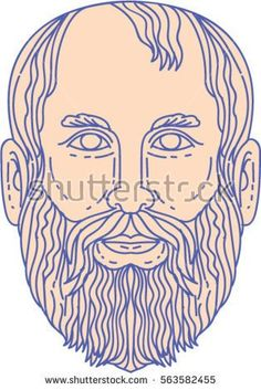 Mono line style illustration of the Greek philosopher Plato head viewed from front set on isolated white background.  #Plato #monoline #illustration