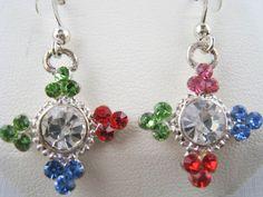 MACY'S Dangling Multi-Color Rhinestone Earrings NEW in Leatherette Jewelry Box