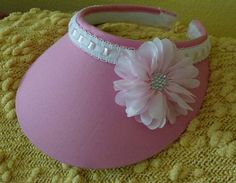 Pink Sun Visor with Large Flower and White Eyelet by ArtsyTreats