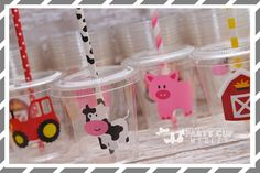 Farm Birthday Party Cups-Kids Party Cups-Farm Party Favor Cups by PartyCupMedley on Etsy https://www.etsy.com/listing/244930723/farm-birthday-party-cups-kids-party-cups