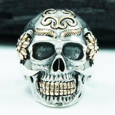 ARABESQUE SKULL 925 STERLING SILVER US Size 9 BIKER ROCKER GOTHIC RING jo-r004 #Handmade