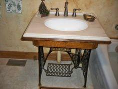 Antique sewing machine base as a sink. ReDoingTheUndone blog