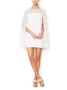 Adequat Lace Cape Shift Dress by Maje at Gilt....this, but a longer version would be a chic wedding dress.
