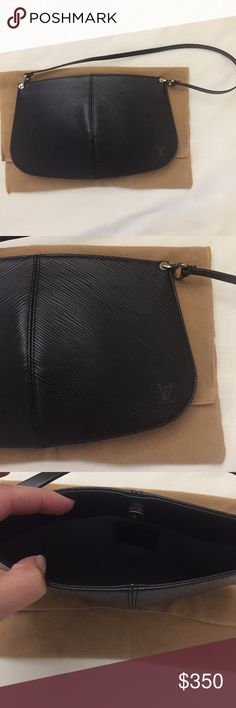 Louis Vuitton Pochette Excellent condition. Demi Lune Epi leather. Discontinued style. Louis Vuitton Bags Clutches & Wristlets