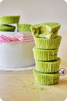 Matcha white chocolate outer shell, and a homemade pistachio nut butter filling. Such a clever idea!