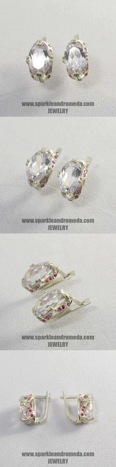 Sterling 925 silver earrings with 2 oval mm white topaz color and 24 round mm and 8 round 1 mm pink ruby color cubic zirconia gemstones. Topaz Color, 925 Silver Earrings, White Topaz, Gemstones, Pink, Handmade, Jewelry, Hand Made, Rose