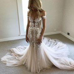 Gorgeous Off the Shoulder Sweetheart Mermaid Long Wedding Dresses, PM0624