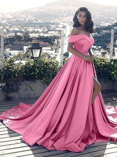 Custom Made Glorious Pink Prom Dresses, Sleeveless Prom Dresses, Prom Dresses A-Line, Prom Dresses Long Maroon Prom Dress, Split Prom Dresses, Prom Dresses Long With Sleeves, Chiffon Dress Long, Pink Prom Dresses, Satin Dresses, Dress Prom, Evening Dresses, Long Dresses