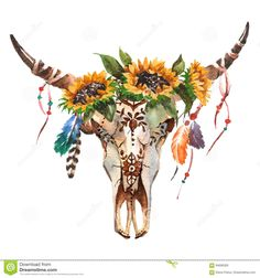 Watercolor Isolated Bull`s Head With Flowers And Feathers On White Background. Skull For Wrapping, Wallpaper Stock Illustration - Illustration of drawing, bull: 94690300 Bull Skull Tattoos, Bull Skulls, Cow Skull, Skull Art, Deer Skulls, Cute Captions, Skull Painting, Collage, Watercolor Art