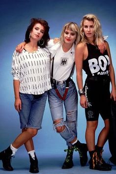 Bananarama made ripped, shredded and customized denim (including, eek, cycle shorts) acceptable in the eighties.