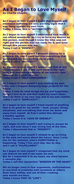 I read this a hundred times and how it hit home......introspect! Charlie Chaplin on * Self love*