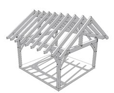 This plan utilizes traditional timber frame joinery to create a 16x16 frame that you can use as a porch, pavilion or shed.