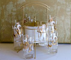 Mid Century Barware Set 8 Glasses with Ice Bucket and Caddy Hazel Atlas Glassware