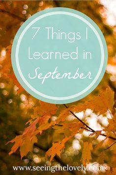 7 Things I Learned in September