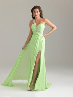 #NightMoves #prom one shoulder light green with slit beautiful dress www.pzazdresses.com