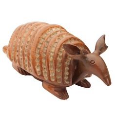 Hand-Carved Wood Armadillo | From a unique collection of antique and modern animal sculptures at http://www.1stdibs.com/furniture/more-furniture-collectibles/animal-sculptures/