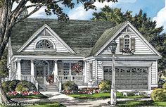 The Darcy #1324 is NOW AVAILABLE! This charming cottage design offers easy living with modern features. A single dining room and vaulted great room are completely open to the kitchen, where counter seating is ideal for quick family meals. http://www.dongardner.com/house-plan/1324/the-darcy. #NowAvailabe #Small #Cottage #OneStory