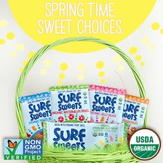 Fill an organic Easter basket this year! Surf Sweets Organic Gummy Candy and Jelly Beans are made with organic fruit juice and sweeteners, Non-GMO Verified, and Certified Gluten Free! Also free of the top ten allergens.