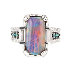 For Sale on - This ring is made with 18 karat white gold and features a long natural black opal (GIA certified: with a mixture of colors like blue, Tourmaline Ring, Green Tourmaline, Rose Quartz Ring, How To Make Rings, Green Diamond, Diy Rings, Pearl Set, Black Opal, Opal Rings