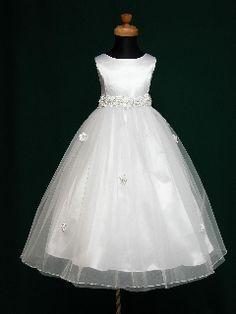 New Arrival A-line Bateau Sleeveless Tea Length Flower and Beaded Bow Organza First Communion Dress