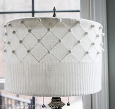 Refurbish an old lamp shade.  Off to the second hand store I go.....Easy lampshade makeover with a thrift store sweater!