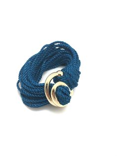 Attimi Handmade Jewelry Costa Rican Unique Soft Cotton Fashion Bracelet With European Gold Plated Metal Clasp Divinite For Gifts Accesories and More Handcrafted Blue Small