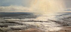 """Jeff Ripple ~ """"Study of Morning Light and Waves at Canaveral October 5"""" ~  Oil on Linen 6 x 12"""