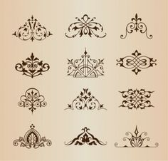 Set of Vintage Ornaments Vector