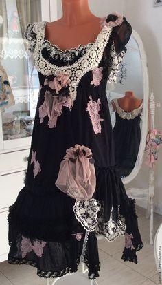 """Купить Авторское платье. """"Ампир"""" бохо Шик. - черный, цветочный, платье ручной работы.  Shabby chic Romantic Cinderella, Hippie Gipsy Boho, Bohemian shabby dress, Textile collage."""