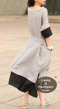 Flax coloured dress - back
