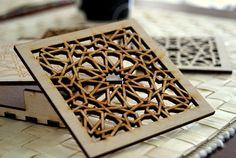 Wood Coasters Islamic Geometric Pattern by KustomKalligraphy Geometric Pattern Design, Geometric Art, Geometric Designs, Arabesque, Motif Oriental, Cool Coasters, Islamic Patterns, Arabic Pattern, Small Wood Projects