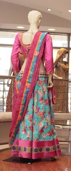 Embroidery: Zari work.  Fabric: Cotton Silk Skirt with Silk Blouse.  For more information please contact sales@sahil.com or visit us www.sahil.com