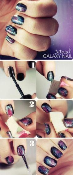 Easy galaxy nails! Super cute!!