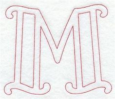 Majestic Letter M (Redwork) - 5 Inch Cursive Calligraphy Alphabet, Machine Embroidery Designs, Hand Embroidery, Writing Fonts, Graffiti Alphabet, Beautiful Fonts, Book Folding, Tumblr Wallpaper, Letters And Numbers