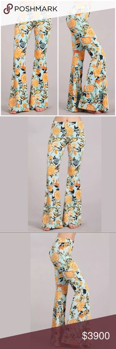 Floral Flared Bell Boho Stretch Casual Pants Featuring a fun floral yellow and blue printed flared bell bottom casual stretch pants. Soft stretchy material. Pull on style with elastic stretch waistband.    ** Please note - These arrive the end of Feb **   Made of: 95% Polyester & 5% Spandex   Like this listing for price drop notification when they arrive in.   $39.00 Pants Boot Cut & Flare