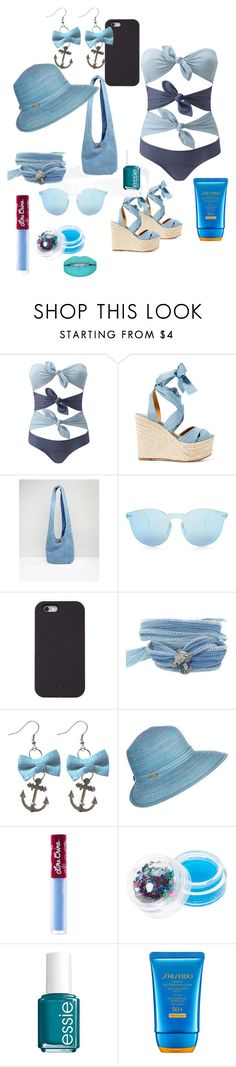 """""""Beachy"""" by kadzorr on Polyvore featuring Lisa Marie Fernandez, Ralph Lauren, South Beach, Illesteva, Catherine Michiels, Capelli New York, Lime Crime, claire's, Essie and Shiseido"""