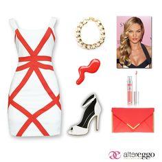 #vestido #blanco #detalles #coral #oro