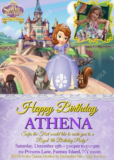PRINCESS SOFIA the FIRST Custom Personalized Birthday Invitation with or without your picture, Disney, Inspired. $9.00, via Etsy. Princess Sofia Party, Princess Sofia The First, Disney Princess Party, My Princess, Sofia The First Birthday Party, First Birthday Parties, First Birthdays, Birthday Ideas, 4th Birthday
