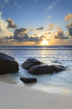 Rocks on Beach at Sunrise, Anse Parnel, Mahe, Seychelles - 600-05786221 © F. Lukasseck Model Release: No Property Release: No Rocks on Beach at Sunrise, Anse Parnel, Mahe, Seychelles