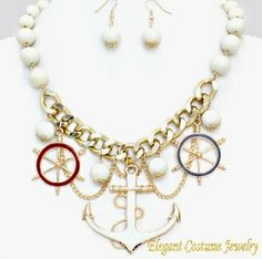 Nautical White Bead Gold Anchor Elegant Necklace Set $21.99  #7370 - also available in Red or Navy