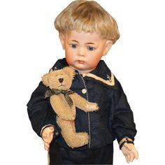 Antique German Bisque Doll with Teddy Bear - K * R #115A from honeyandshars on Ruby Lane